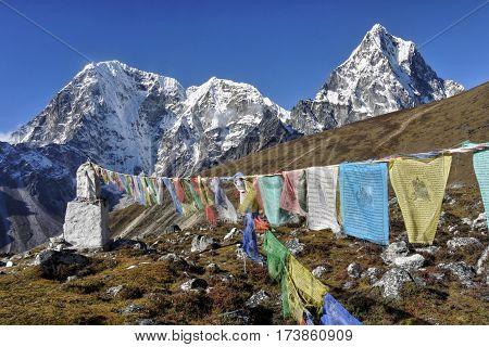 Buddhist Prayer Flags and Himalayan Mountains, Nepal