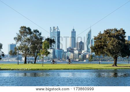Perth city skyline from South Perth over the Swan River, Western Australia, Australia. 11th January, 2017.