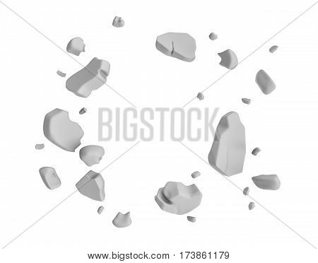 3d rendering of grey pieces of plaster wall hanging in the air on white background. Construction and demolition. Failure and destruction. Broken pieces.