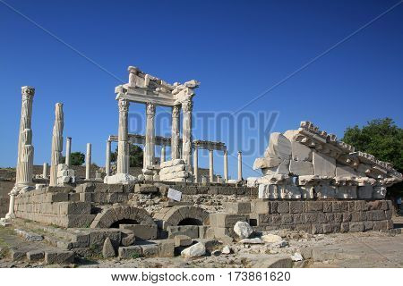 Ruins Of The Ancient Temple Of Trajan In Bergama Acropolis, Turkey
