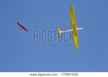 RC remotely controlled soaring plane model sailplane on blue sky