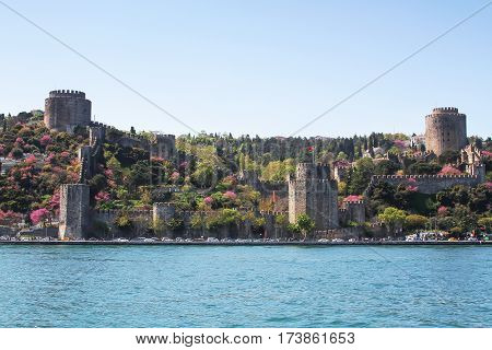 View of the Rumelihisari castle sailing Bosporus