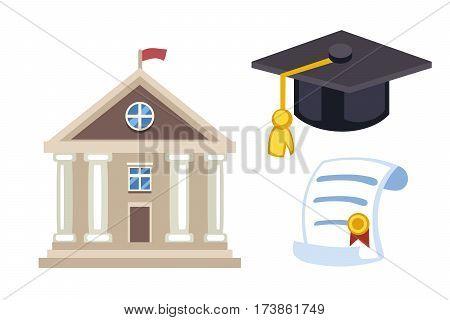 Graduation cap diploma hat icon celebration vector illustration. University school student ceremony symbol. Achievement academic degree graduate success cloth.