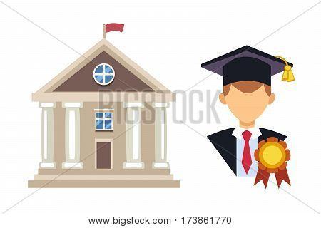 Graduation man silhouette uniform avatar vector illustration. Student education college success character. School icon and university building vector illustration.