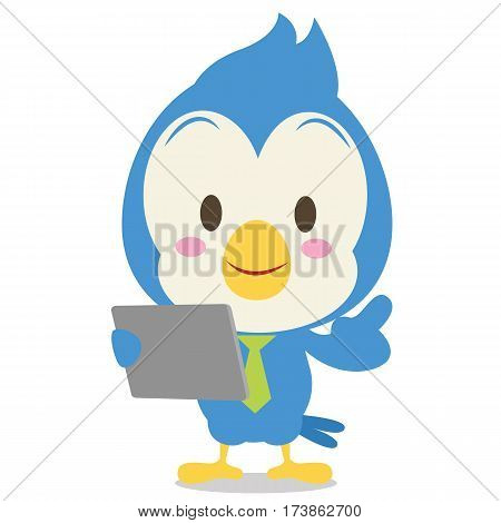 Blue jay with tablet character vector illustration