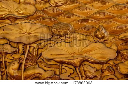 Carved sandstone on the walls, style pattern decorative in temple,Thailand.