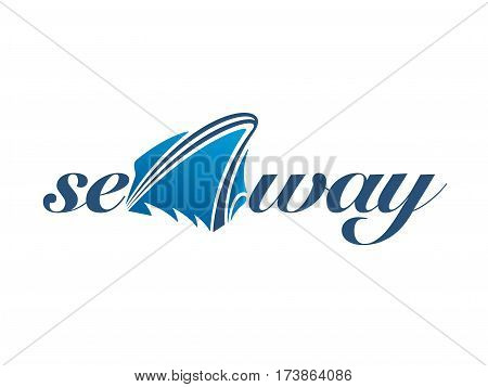 Creative boat logo in sea waves on white background. Vector illustration.