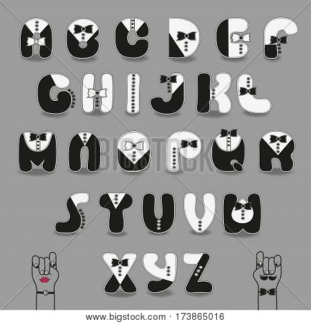 Black and White Alphabet with ties. Tuxedo Style. Cartoon letters with suits elements. Vector illustration