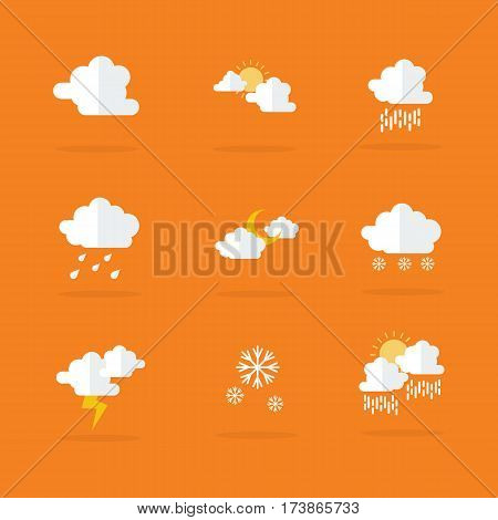 Weather set icon vector flat collection stock