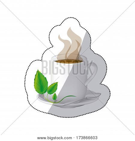 color coffee cuppa with steam and leaves in the plate, vector illustraction