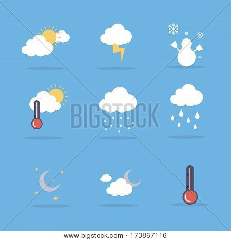 Weather set flat vector illustration collection stock
