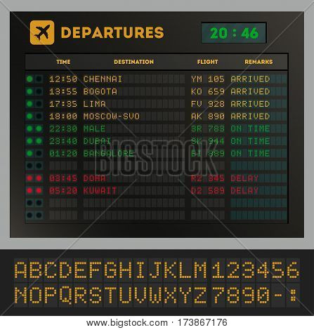 Digital colorful airport board template vector illustration. Set of letters, numbers and time display board for airport schedule or train destination timetable. Realistic flip scoreboard, digital font. Vector airport board. Concept of airport board.