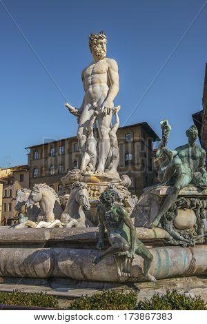 fountain of Neptune on the Piazza della Signoria in front of the Palazzo Vecchio in Florence, Italy