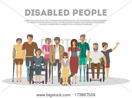 Disabled people banner in flat style vector illustration. Invalid persons, blind woman, broken arm, people on wheelchair, prosthetic arms and legs. Healthcare assistance and accessibility concept. Cartoon disabled people. Different disable people characte