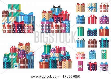 Colorful gift box with ribbon set in flat style vector illustration. Birthday or christmas box surprise collection isolated on white background. Pile of colorful wrapped gift boxes, holiday present. Gift box collection. Vector gift box set.