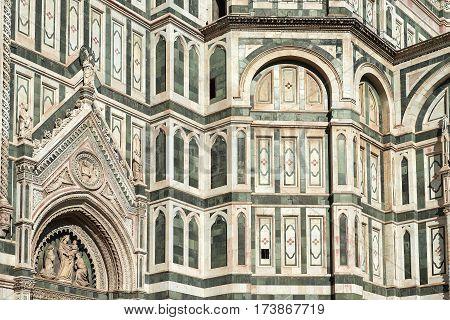 fragment of facade cathedral Santa Maria del Fiore (Duomo), Florence, Tuscany, Italy