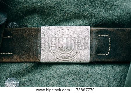 Buckle belt Nazi during the Second World War with the Gott Mit Uns - God with us inscription. Reconstruction