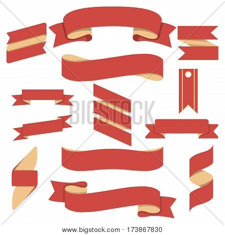 Curved red ribbons set on white background vector illustration. Retro collection of blank label, tag or paper banner template for text. Vintage  red ribbon collection. Isolated red ribbon set. Red ribbon illustration.