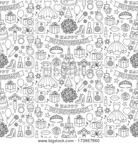 Birthday doodle seamless pattern with girl objects and elements on white background. Coloring page.