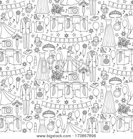 Ball doodle seamless pattern with celebration objects and elements on white background. Coloring page.