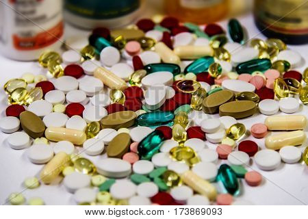 pharmaceutical medicament, cure in container for health, drug prescription for  medicine pharmaceuticals, a pharmaceutical pills dispensed by doctor,