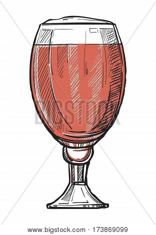 Glass of beer freehand pencil drawing isolated on white vector illustration. Time to beer concept, oktoberfest festival sketch in vintage style. Full glass of beer icon for bar, pub or restaurant menu. Isolated glass of beer. Vector glass of beer.