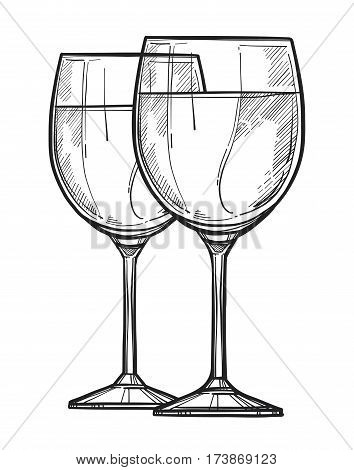 Glass of wine freehand pencil drawing isolated on white background vector illustration. Wineglass sketch in vintage style. Full wine glass icon for bar, pub or restaurant menu.