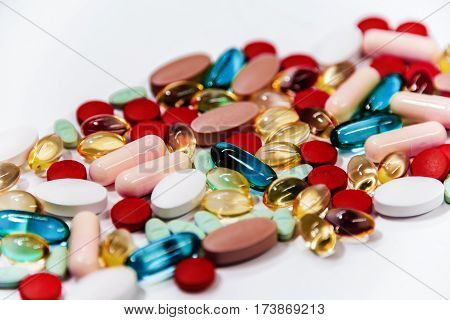 a pharmaceutical drug is a drug used to diagnose, cure, treat, or prevent disease, drugs prescription for  medicine pharmaceuticals, colorful pills and drugs in close up