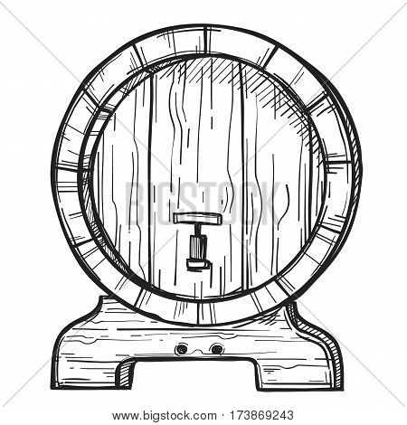 Wooden barrel freehand pencil drawing isolated on white background vector illustration. Round wooden barrel with tap on stand sketch in vintage style. Alcohol, wine, beer or whiskey old wood keg.