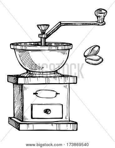 Coffee grinder freehand pencil drawing isolated on white background vector illustration. Retro manual coffee grinder or mill with coffee beans sketch in vintage style. Cafe or restaurant menu design.