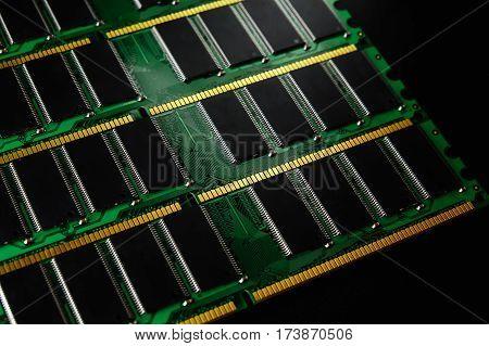 Stick of computer random access memory. Ram. Selective focus