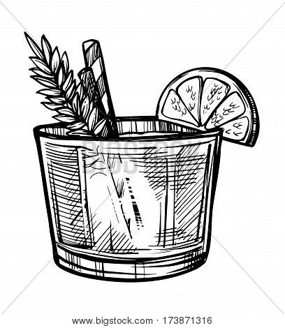 Alcoholic cocktail hand drawn sketch vector illustration. Vintage cocktail icon, cold drink, beverage pencil drawing for bar or restaurant menu. Alcohol cocktail in glass isolated on white background.