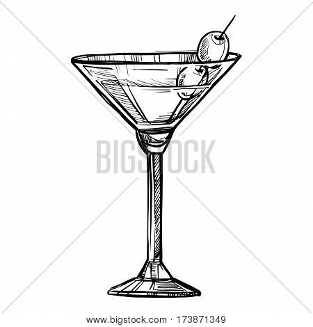Alcoholic cocktail hand drawn sketch vector illustration. Vintage cocktail icon, martini with olive, beverage pencil drawing for bar or pub menu. Alcohol cocktail in glass isolated on white background