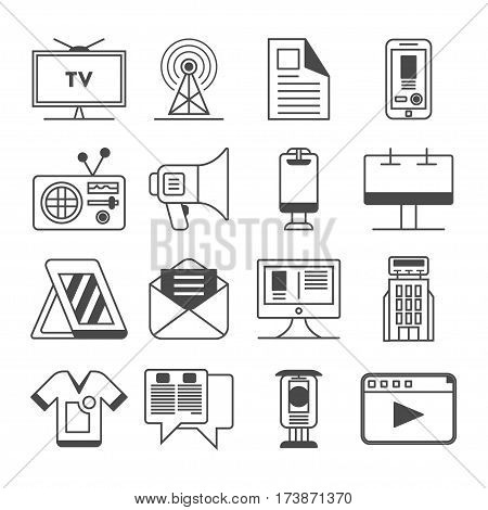 Media and advertisement icon set isolated vector illustration. Online business, social media marketing, product promotion, merchandising, billboard and tv ads logo. Advertising linear pictogram pack. Media icon pack. Media sign.