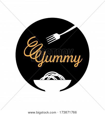 yummy noodle logo design with fork and bowl