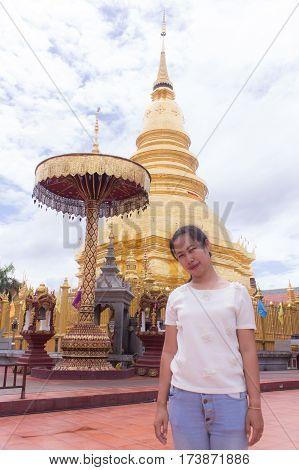 Thai woman at Wat Phra That Hariphunchai, lamphun Thailand