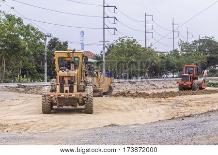 Tractor with Steamroller road roller leveling , asia
