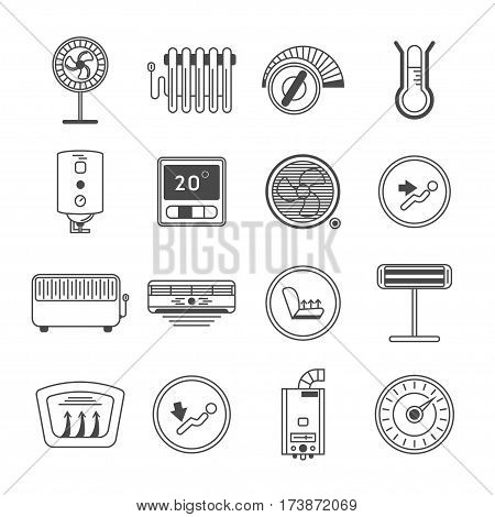 Climate control line art icon set isolated vector illustration. Air conditioner, battery, fan, oil heater, water boiler, thermostat, UFO, heat radiator pictogram. Climat sign set. Component of house climate system. Climate icon pack.
