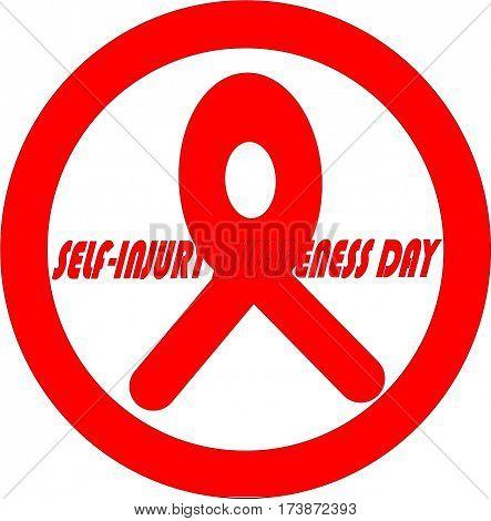 logo template. emblem knot self-injury awareness day. WARNING.