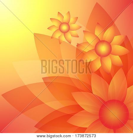 Sunflowers. Bright sunny yellow flowers. Abstract natural floral background. Vector illustration