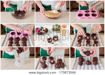 A Step By Step Collage Of Making Easter Egg With Surprise