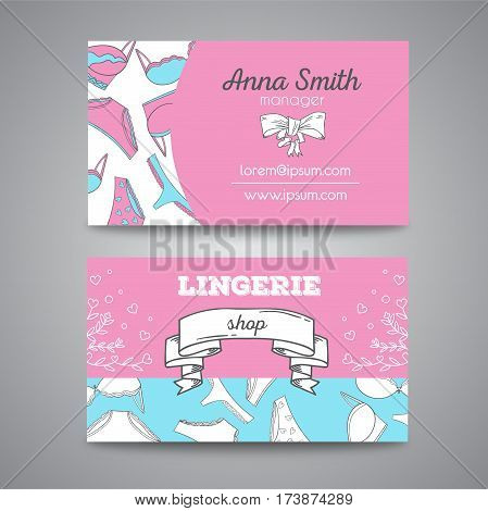 Lingerie shop bussiness card vector illustration. Two sides design with underwear design