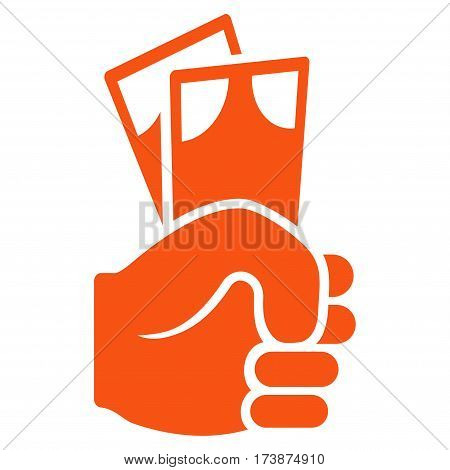 Banknotes Salary Hand vector icon. Flat orange symbol. Pictogram is isolated on a white background. Designed for web and software interfaces.