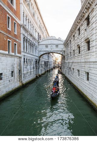Venice Italy - 8 June 2016: The bridge of Sighs - one of the most famous landmarks of Venice Italy 8 June 2016