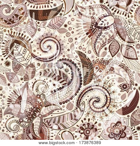 Vector seamless floral pattern. Paisley ornament. Indian decorative wallpaper