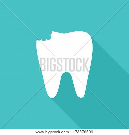Vector image of white tooth with cavity.