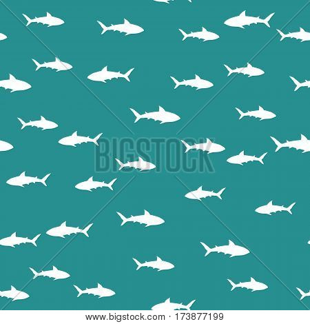 Random seamless pattern with white sharks. Vector background
