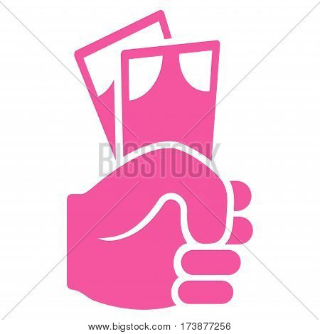 Banknotes Salary Hand vector icon. Flat pink symbol. Pictogram is isolated on a white background. Designed for web and software interfaces.