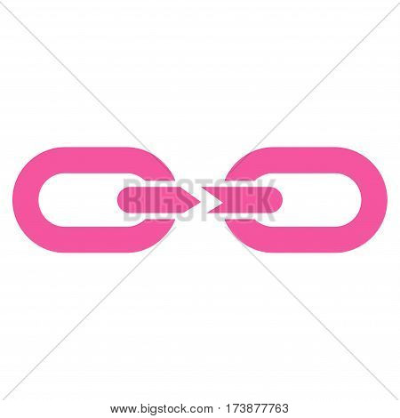 Chain Break vector icon. Flat pink symbol. Pictogram is isolated on a white background. Designed for web and software interfaces.