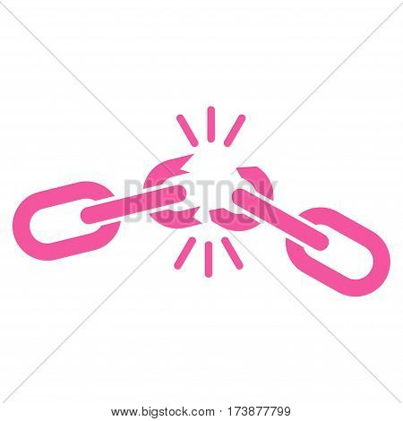 Chain Damage vector icon. Flat pink symbol. Pictogram is isolated on a white background. Designed for web and software interfaces.